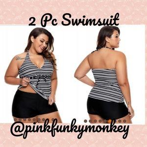 Other - New v-neck Stripe Halter Swimsuit